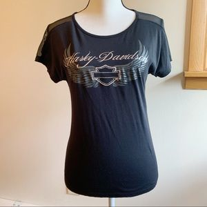 Harley-Davidson Women's Black and Silver Tee